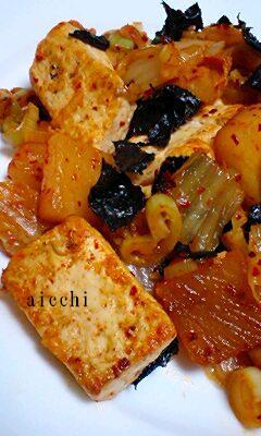 豆腐キムチ海苔炒めup