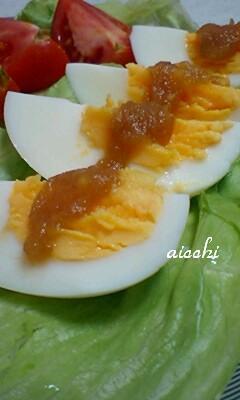 ゆで卵のルバーブかけup
