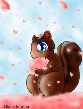 リスさん~桜吹雪