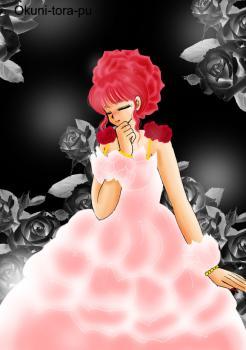 バラの花びらの女の子