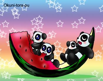 暑中お見舞い~パンダ親子