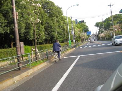 自転車通行帯の自転車
