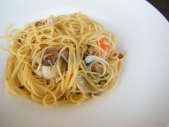 魚介とオオバのペペロンチーノ
