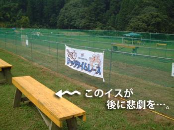 コース横のベンチ