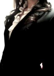 LOUNIE'08春ストライプフリル襟ブラウスを着て二次面談へ