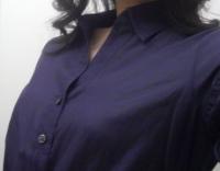 LOUNIE'08夏ウェストリボンシャツ(紺)拡大1