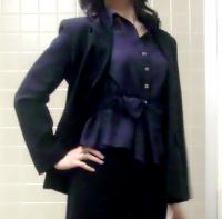 LOUNIE'08夏ウェストリボンシャツ(紺)×スーツ