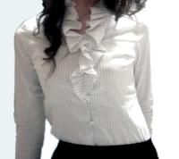 LOUNIE'08夏ストライプフリル襟ブラウス正面