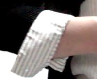 LOUNIE'08夏ストライプフリル襟ブラウス_袖ベコッ