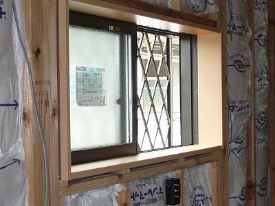 キッチン窓の窓枠