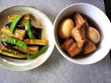 豚の角煮と茄子の炒め物