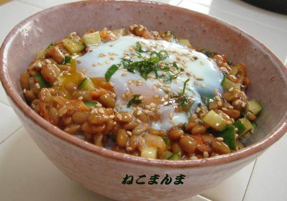 納豆&温卵丼