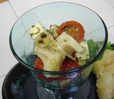 筍とチーズのバジル和え