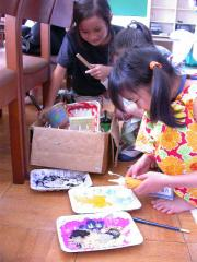 3,4年生絵の具を出す