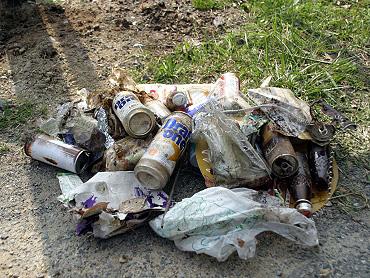 清掃活動で集めたゴミ