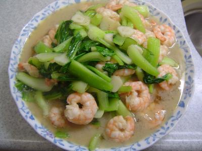 海老と青梗菜の炒め