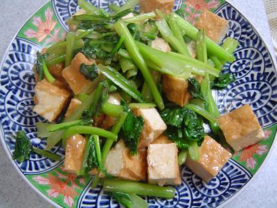 厚揚と小松菜のからし炒め