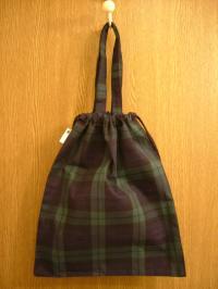 ブラックウォッチの巾着バッグ2