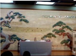 寺子屋の会場  旅館の大広間でした