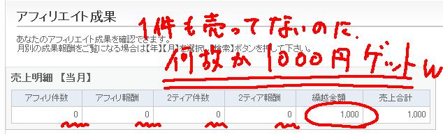 アフィリエイター登録をするだけで、何故か「1000円」もらえますw