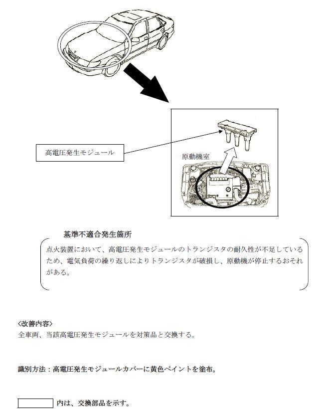 サーブ9-5の不具合発生箇所の説明図