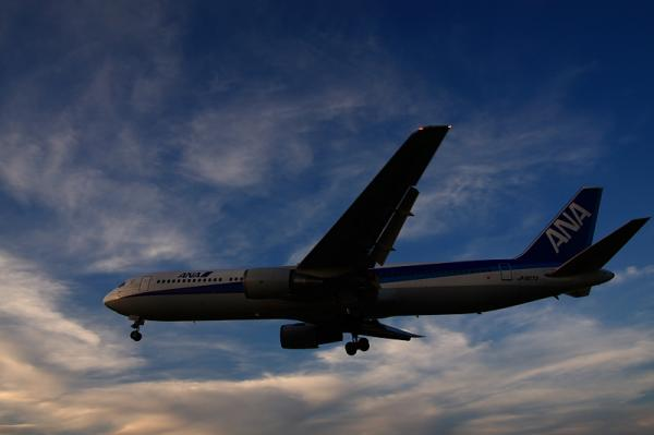 ANA B767-381 NH528@千里川土手(by 40D with SIGMA 18-50)
