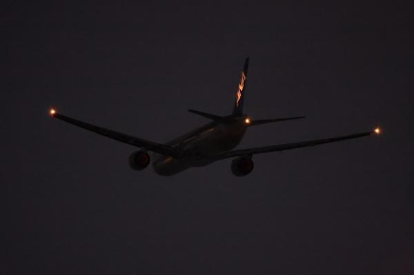 ANA B777-381 NH38@猪名川土手付近(by 40D with EF100-400)