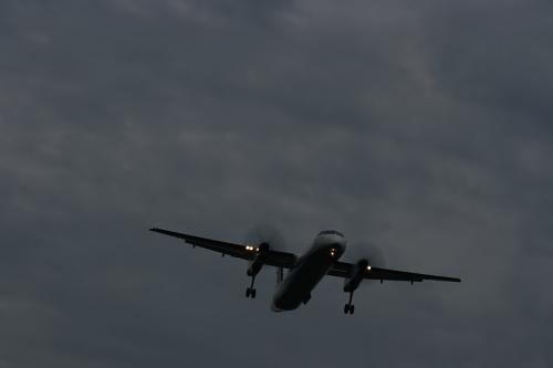 ANA DHC8-Q400 NH1656@RWY32Rエンド(by EF100-400)