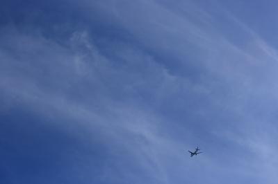 自宅前から見た南の空with JAL B777-346 JL120(by EF28-90)