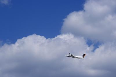 JAC DHC8-Q400 3X2265@RWY14Rエンド脇再開発地区(by EF28-90)