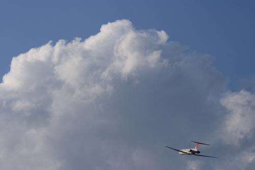 JEX MD-81 JC2389@RWY14Rエンド沿道空地(by EF100-400)