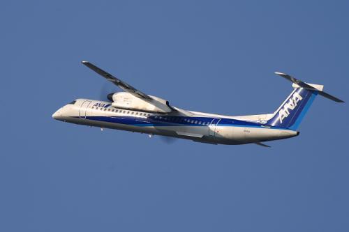 ANA DHC8-Q400 NH1651@RWY14Rエンド沿道空地(by EF100-400)