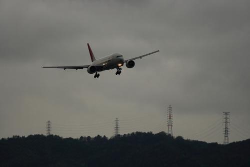 JAL B777-246 JL127@RWY14Rエンド脇(by EF100-400)