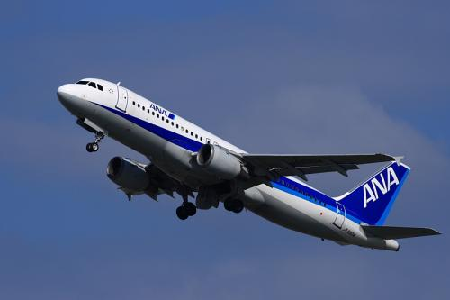 ANA A320 NH555@14エンド猪名川土手(by EF100-400)