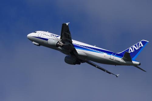 ANA A320 NH167@14エンド猪名川土手(by EF100-400)