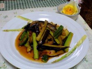 胡瓜とナスの中華炒め
