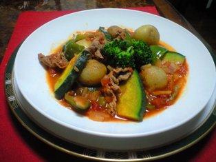 茹で野菜with牛トマ