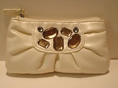 ストーン付きホワイトバッグ(化粧ポーチサイズ)