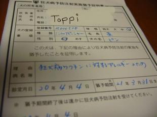 pin君の登録はtopiiの名前でした。