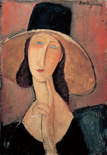 大きな帽子をかぶったジャンヌ・エビュテルヌ