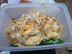 たらこ作成スナックエンドウと卵のつぶしたの。胡椒がうまい。