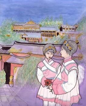ブログ用麗江古城の夜景