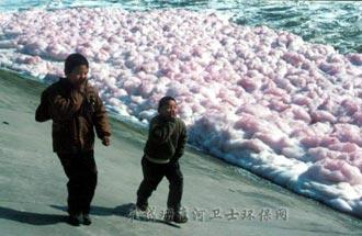 川岸のきれいな紫色の泡と異臭に子供も大喜び!