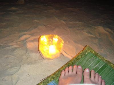 夜はプライベートビーチで
