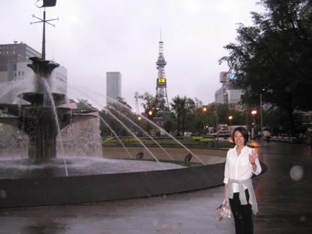 噴水とテレビ塔と私