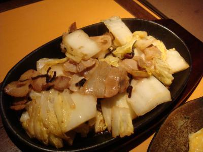 塩昆布で炒めた豚バラ@木山Dining