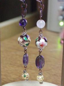 紫の七宝と天然石