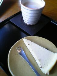 080323天真庵・チーズケーキとカフェオレ