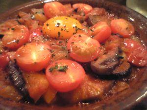 080425ラプレンド・温野菜とトマト、ベーコン焼き