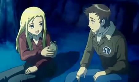 アリソンとリリア2話 アリソンヴィルに水筒を渡す